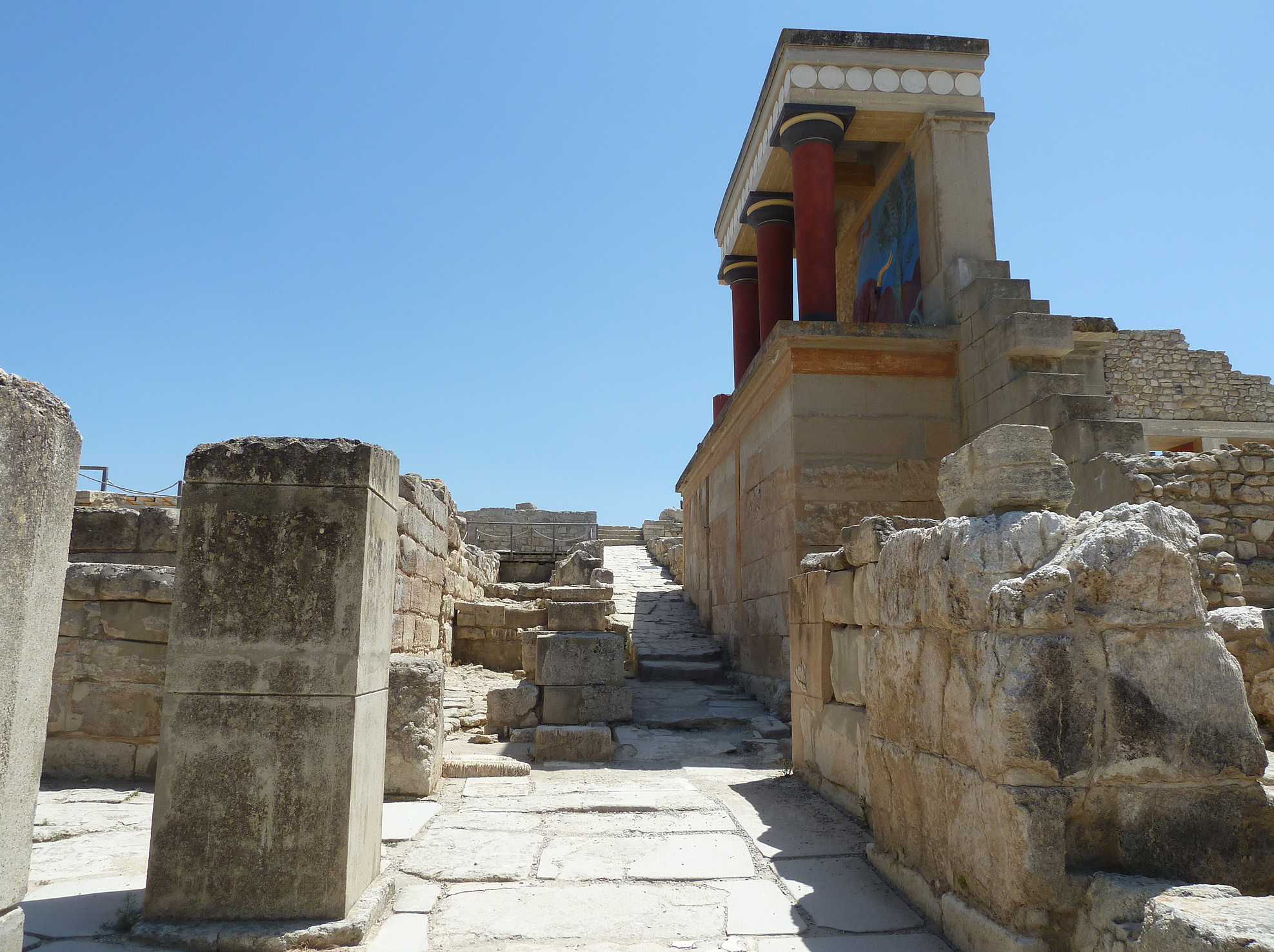 Knossos: grand reconstrustion of building lining the approach from the theatral area