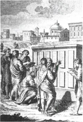Engraving of the Twelve Tables being read.