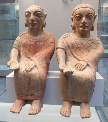 Two seated Etruscan figures in the British Museum